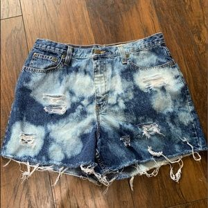 Eddie Bauer distressed bleached jean shorts size 8
